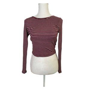 ✨SALE Long Sleeve Ribbed striped Crop Top small